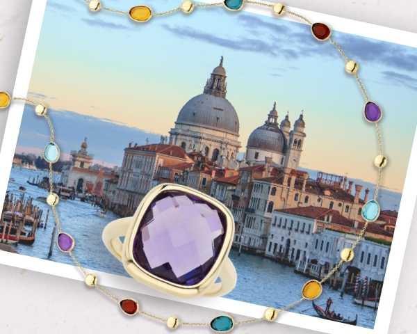 Image of Venice, Italy with Bel Colore purple amethyst faceted gemstone ring set in yellow gold and a gemstone necklace in multiple colors on a paper background.