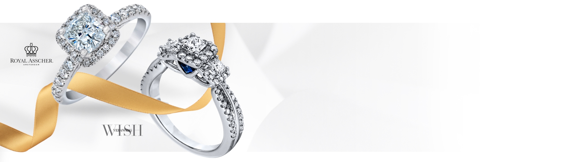A Royal Asscher engagement ring and a Vera Wang Wish engagement ring on a gray background with a gold ribbon. Shop engagement rings at Jared.