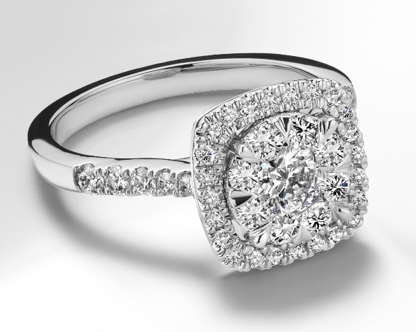 Love's Radiance composite center diamond engagement ring on a white background.