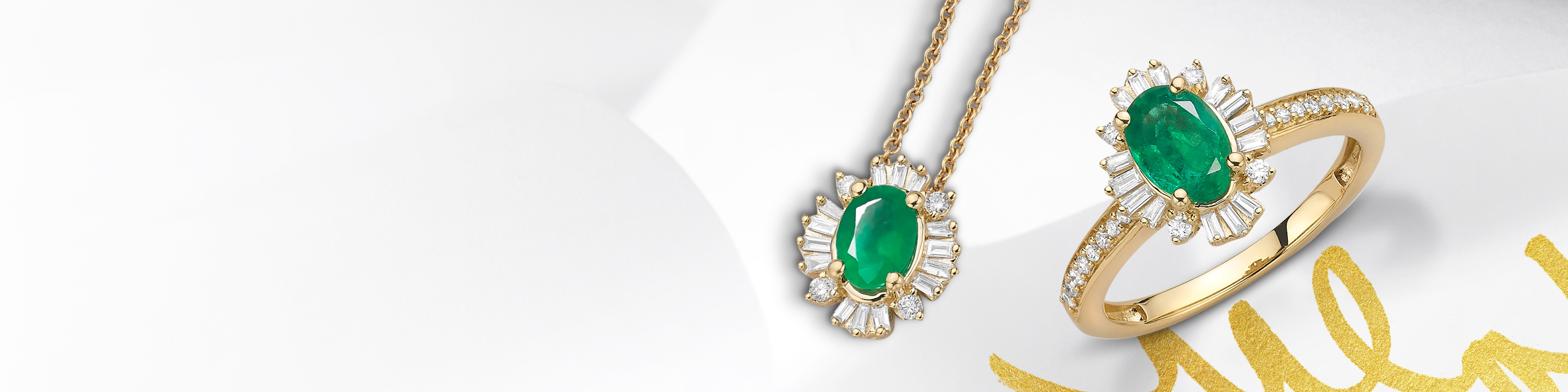 Emerald ring and necklace set in yellow gold. Shop all emerald jewelry at Jared.