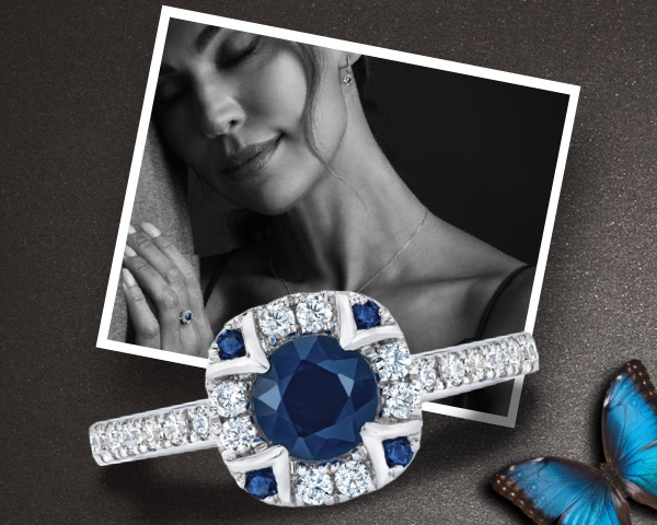 woman with sapphire ring, sapphire ring closeup