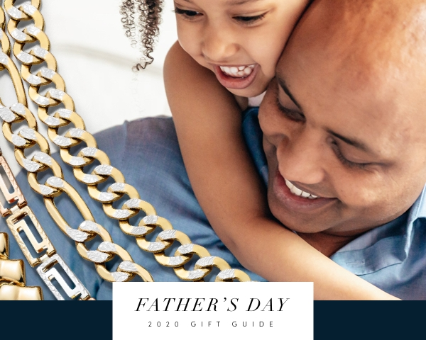 Jared's Father's Day Gift Guide 2020. Image shows a young child hugging their father next to multiple yellow gold chain necklaces and a blue background.