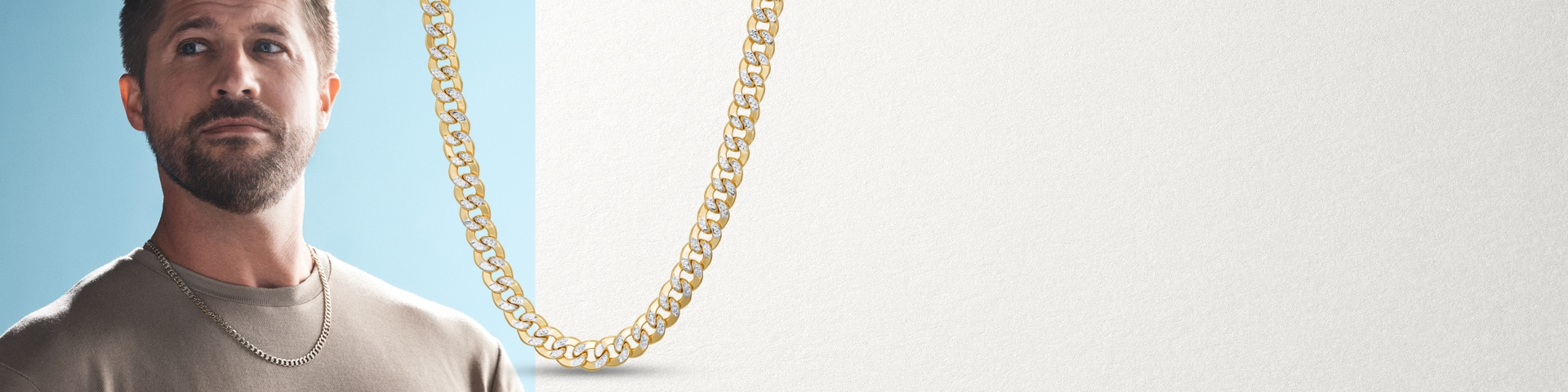 Image of a man wearing a yellow gold chain necklace next to a closer image of the necklace details.