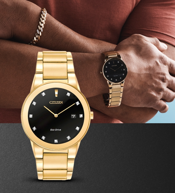Image of a man wearing a yellow gold Citizen watch from Jared on a black textured background.