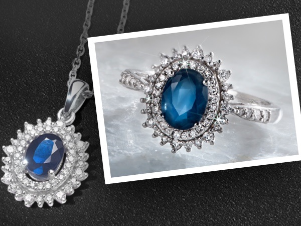 Blue gemstone necklace and ring with double diamond halo on a black textured background.