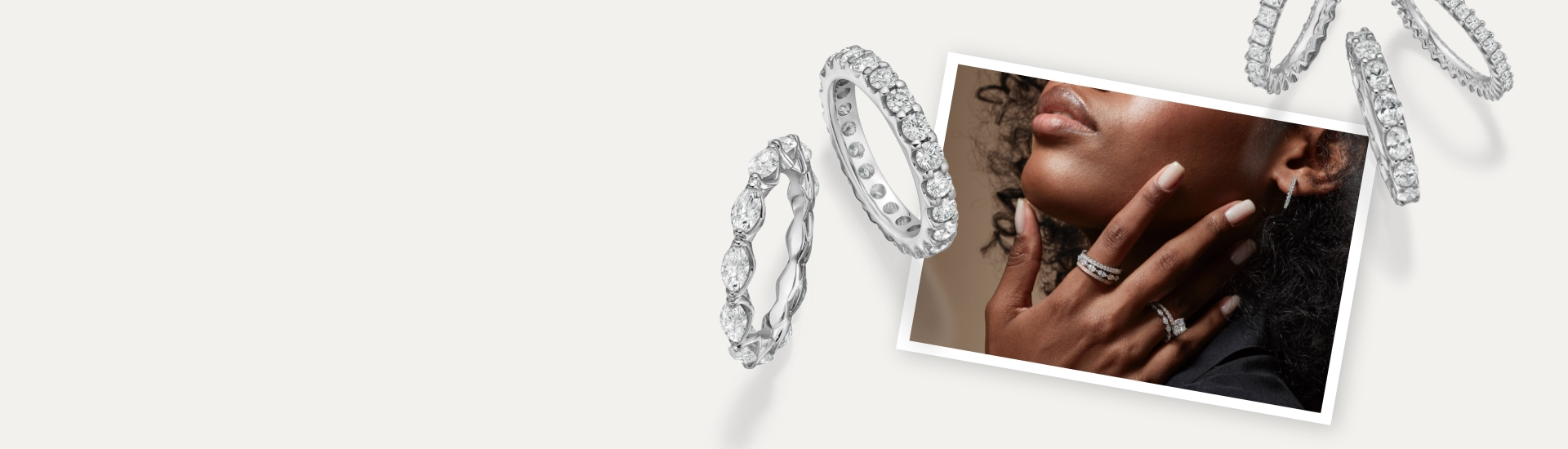 Woman wearing multiple eternity diamond rings on her fingers next to larger images of multi-cut diamond eternity rings set in white gold.