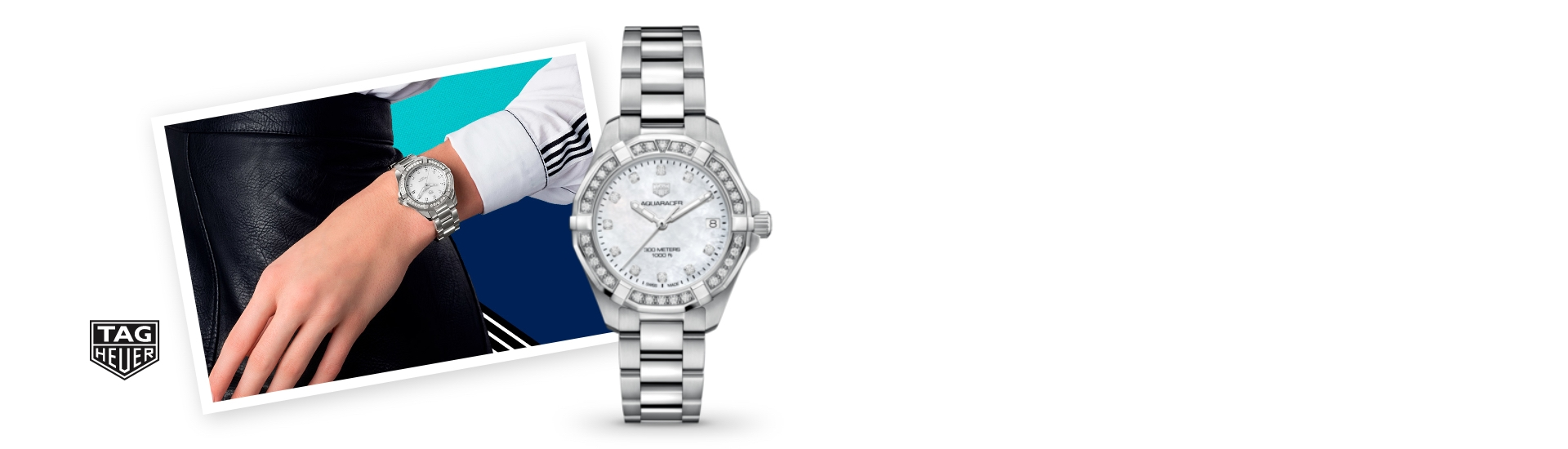 Woman model wearing a Tag Heuer watch next to an image of a diamond Tag Heuer watch.