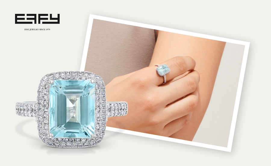 Woman wearing an emerald cut aquamarine and white gold ring next to a larger image of the ring.