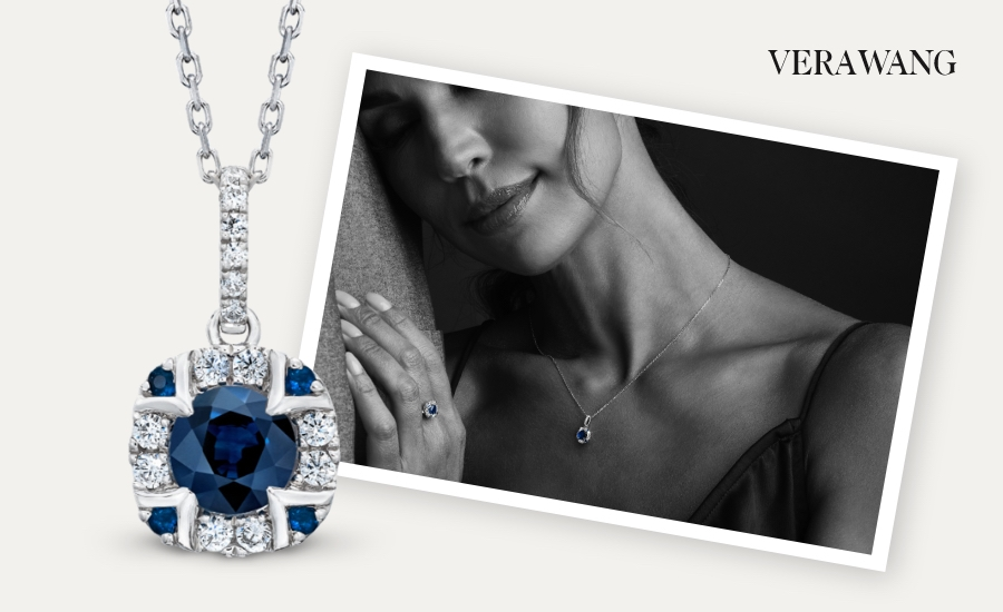 Woman wearing Vera Wang WISH Diamond Necklace 1/6 ct tw 10K White Gold next to a larger picture of the necklace.