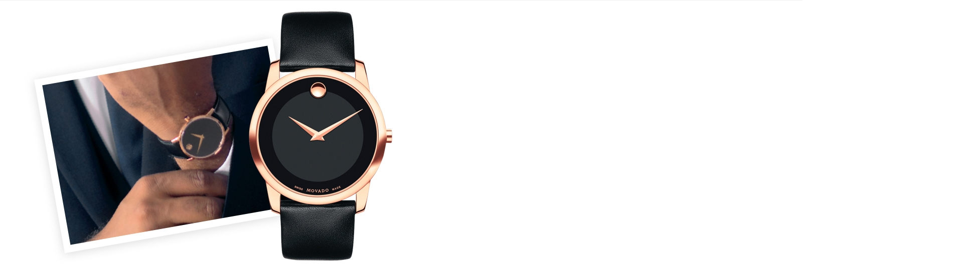 Man wearing a minimalist black and rose gold Movado watch. Shop watches for men at Jared.