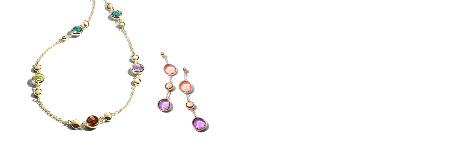 New Bel Colore multi-gemstone necklace in yellow gold and rorse gold multi-gemstone earrings.