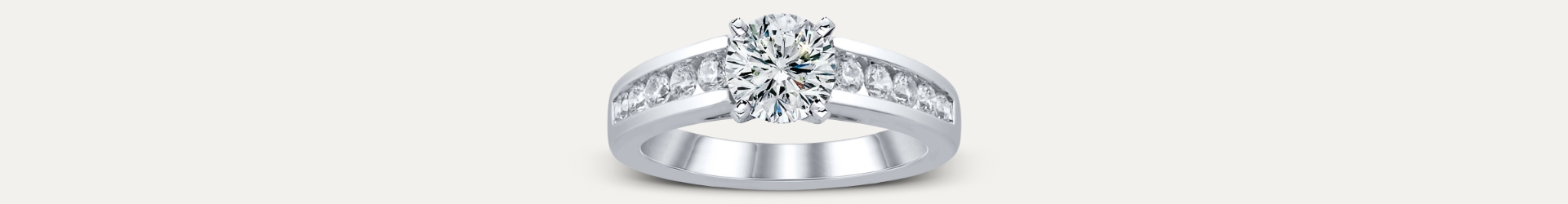 white gold engagement ring, diamonds in channel setting