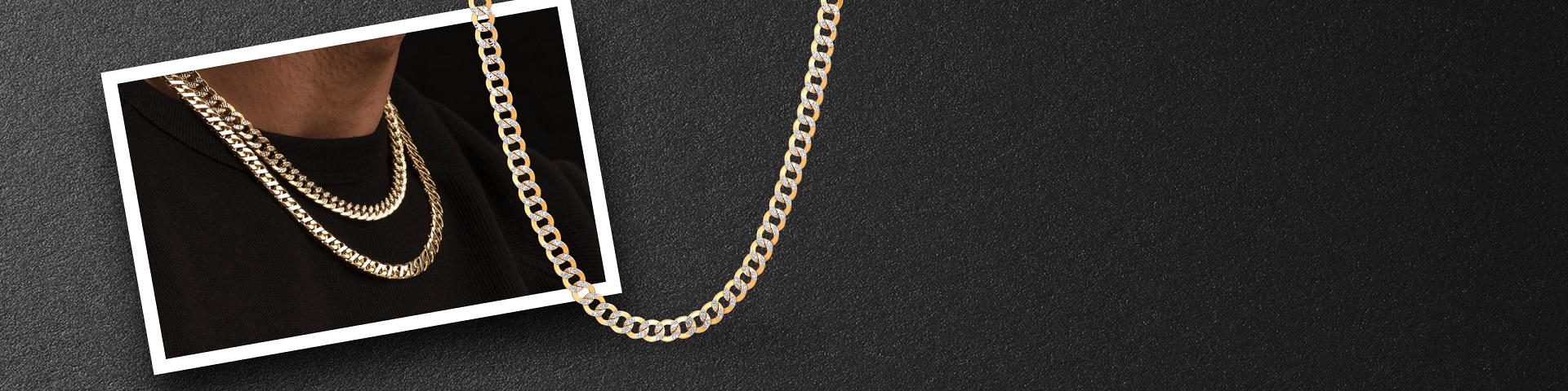 Man wearing a yellow gold chain necklace from Jared. Shop all men's jewelry.