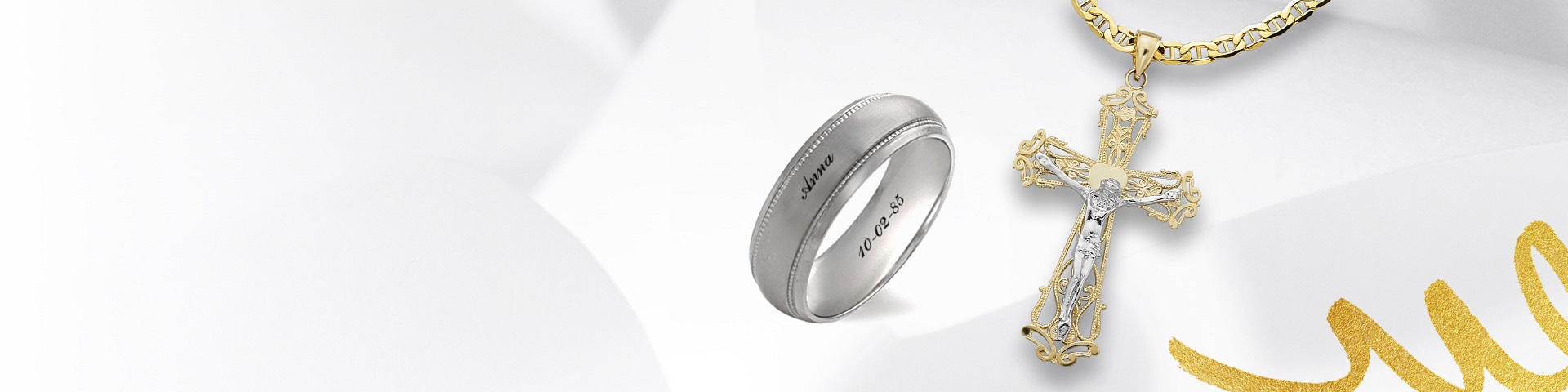 Men's chain pendant and engraved wedding band. Learn more about Custom Design at Jared.
