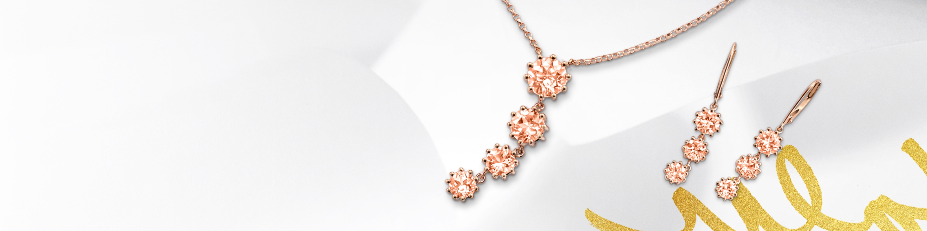 Morganite earrings and necklace set in rose gold. Shop all morganite jewelry at Jared.