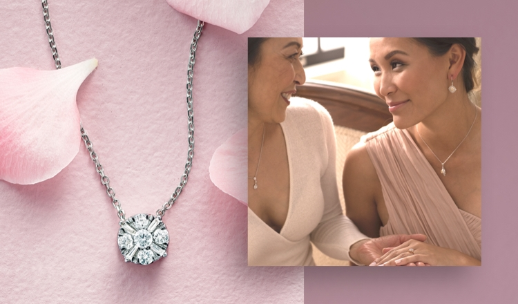 Mother and daughter shown wearing diamond jewelry and a diamond necklace on a pink background.