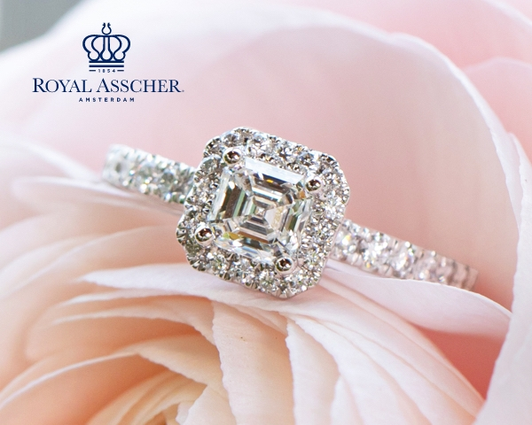 Royal Asscher engagement ring inside of a pink flower