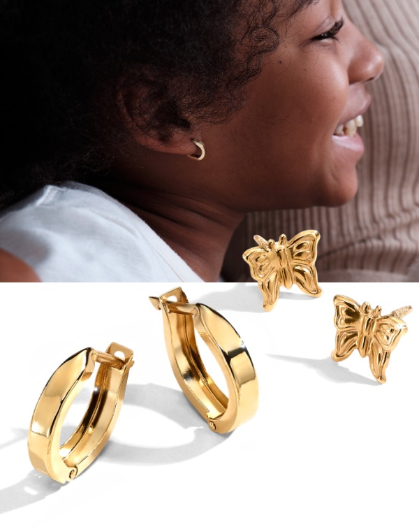 Young girl wearing gold earrings from Jared next to close up gold earrings.