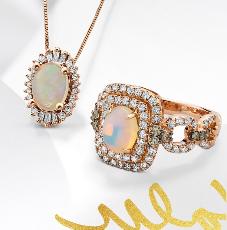 Opal LeVian ring and opal necklace set in rose gold gold. Shop all opal jewelry at Jared.