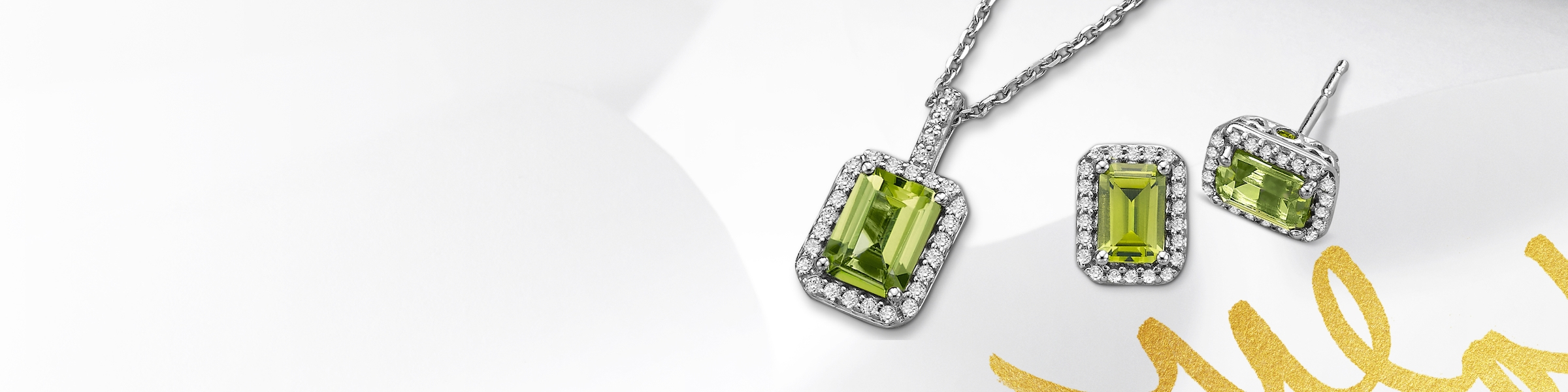 Peridot earrings and necklace set in white gold. Shop all peridot jewelry at Jared.