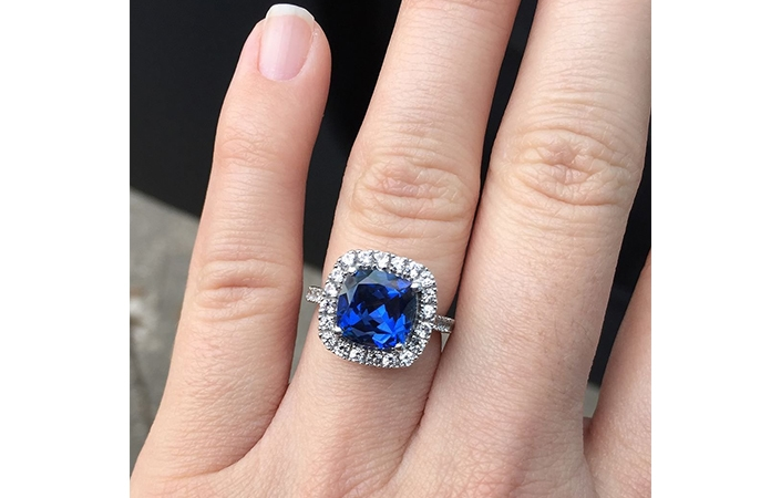 Cocktail Ring Blue Sapphire Ring Cushion Sapphire Ring September Birthstone Ring Cushion Sapphire Ring Sapphire Engagement Ring