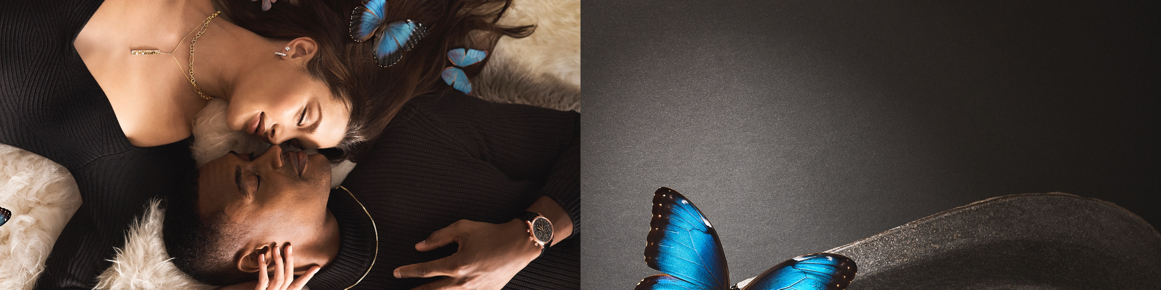 Image of a couple snuggled close together wearing jewelry from Jared on a grey textured background and a blue morpho butterfly.