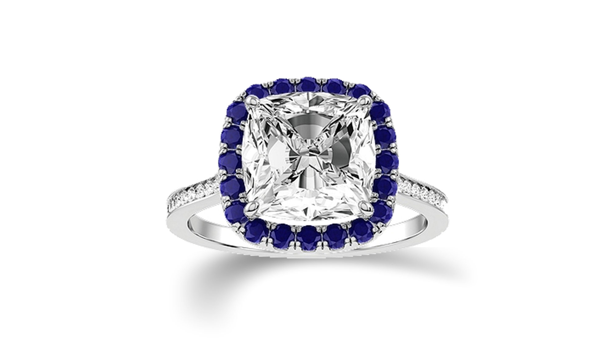 White gold and diamond ring with a blue topaz halo - View Now