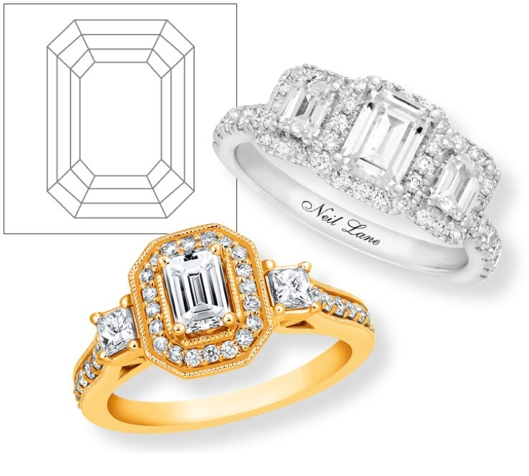 Yellow gold and white gold engagement rings with emerald cut center diamonds on a white background.