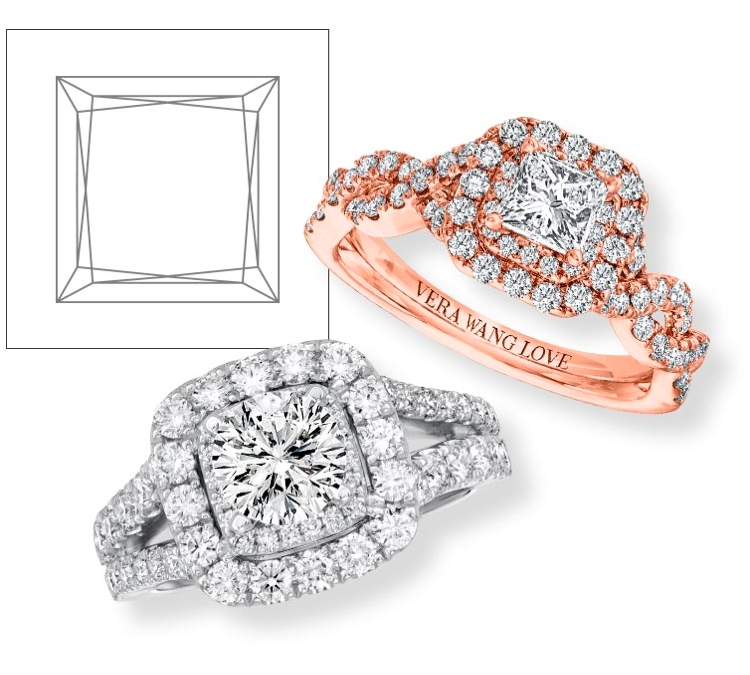 White gold and rose gold engagement rings with princess cut center diamonds on a white background.