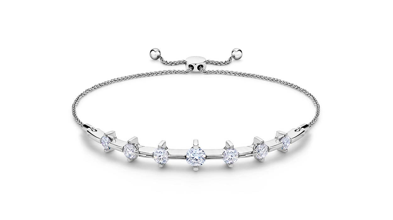 A Jared brand bracelet shown under white light