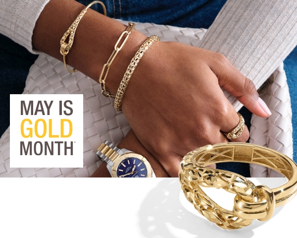 Woman wearing yellow gold bracelets and a yellow gold fashion ring next to the May is Gold Month logo.