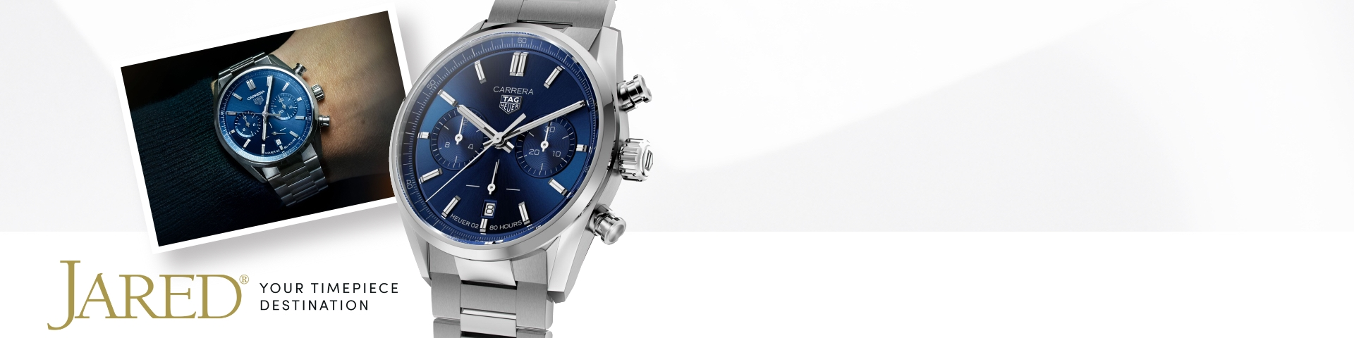 TAG Heuer Carrera watch with blue dial and stainless steel bracelet next to the Jared timepiece destination logo.