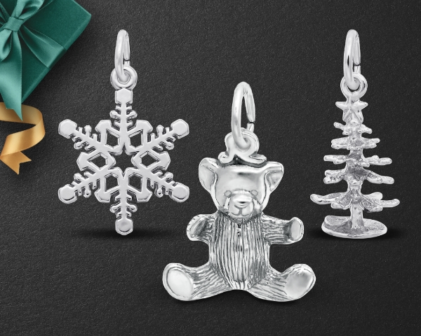 Silver Charms on black background