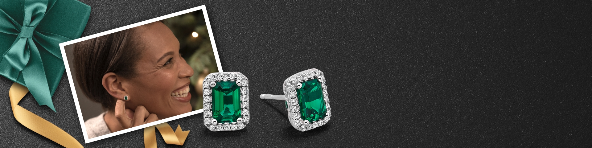 Picture of a woman wearing emerald green earrings with diamond halo next to a larger image of the earrings.