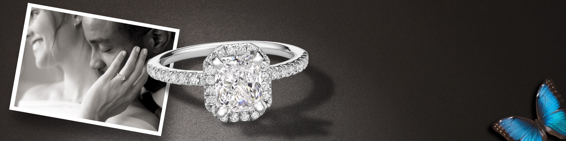 white gold cushion cut engagement ring with halo, bride and groom