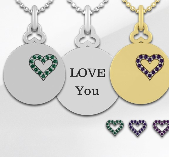 Personalized disc necklace showing several options in yellow and white gold and gemstones.