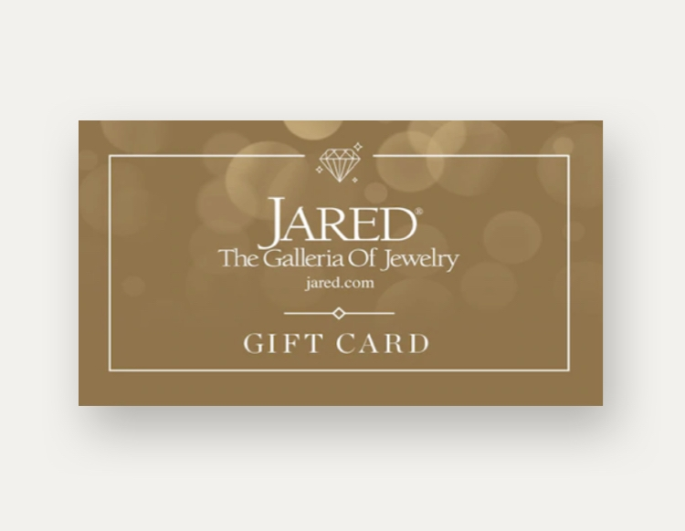 Jared gift card on a grey background.