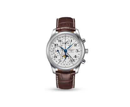 A Longines Master Collection 42mm Silver Dial Stainless Steel Moonphase watch